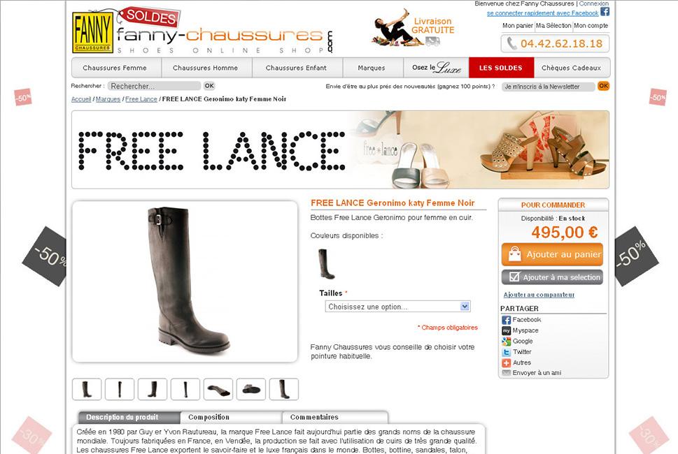 Fanny Chaussures : création site E-commerce sous Magento