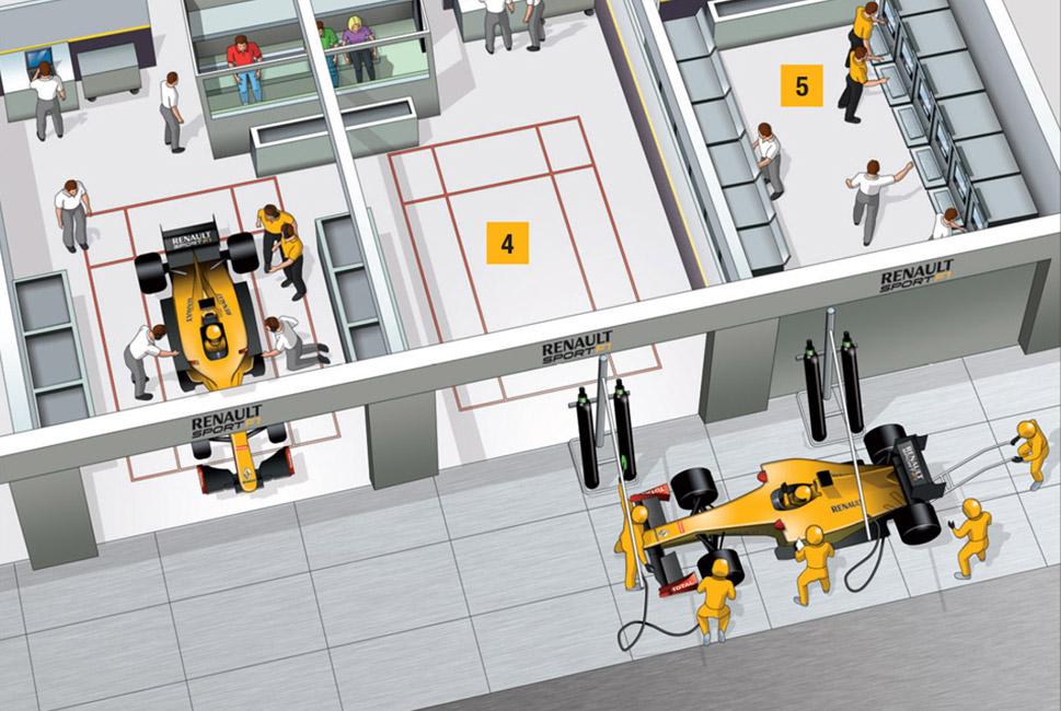 Illustration et dessin d'un stand de Formule Un