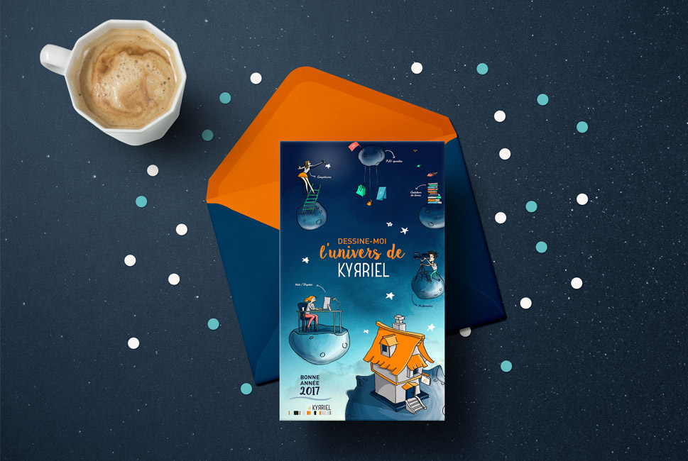Illustration personnalisée pour la carte de vœux de l'agence Kyrriel